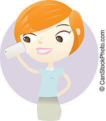 Phone - Illustration of a woman looking the phone
