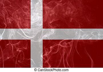 Denmark flag. - Denmark flag overlay on joss stick smoke...