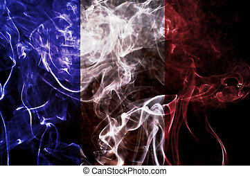 France flag. - France flag overlay on joss stick smoke...