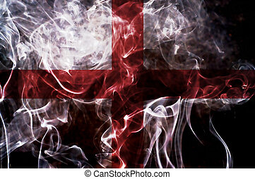 England flag. - England flag overlay on joss stick smoke...