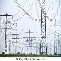 Electrical cables and poles - Lot of electrical pole with...