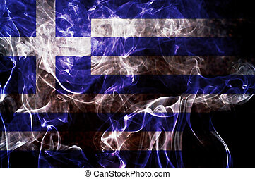 Greece flag - Greece flag overlay on joss stick smoke...