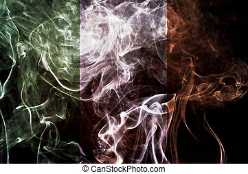 Ireland flag - Ireland flag overlay on joss stick smoke...