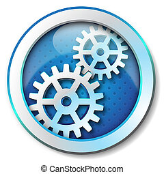 Gear icon - Icon for web blue, Gear icon