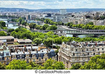Paris - Seine river - Paris, France - aerial city view with...