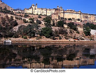Amber Fort, Jaipur - Amber Fort with reflections in water,...