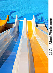 water slide with pool - top point of view of water slide...