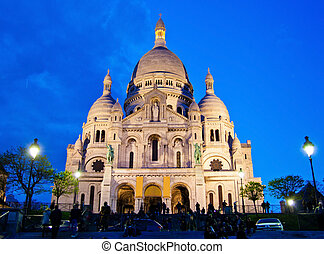 paris. sacre coeur in montmartre - the church of sacre coeur...