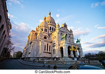 paris sacre coeur in montmartre - the church of sacre coeur...