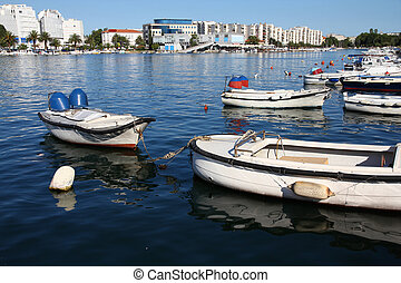 Zadar, Croatia - boat marina and modern part of town