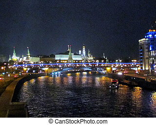 Moscow Kremlin night april - View to Big Stone Bridge on the...