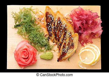 sashimi,  rectangular, tabla,  tamago
