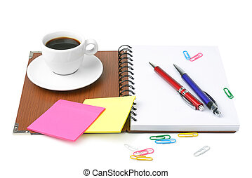 office supplies and coffee cup isolated on white background...