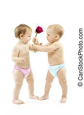 Baby boy present rose flower to a baby girl. Children wear...