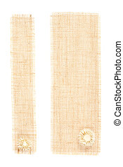 sackcloth tags with decor over white. set of two burlap fabric
