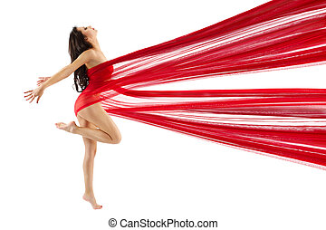 Woman dancing with red flying waving chiffon cloth. Dancer...