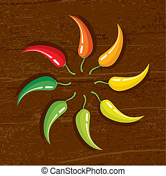 chili peppers - Illustration of chili peppers on the wooden...