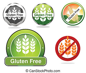 Gluten free food labels collection Beautiful bright colors...