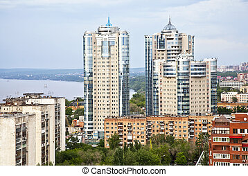 Samara on top. A typical architecture of the city center....