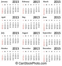 calendar for 2013 year simple version vector