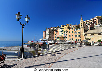 Sori waterfront, Italy - beautiful promenade in Sori, small...
