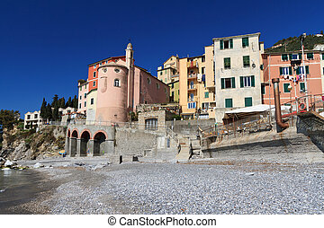 Sori, Liguria, Italy - view from the seaside in Sori, small...