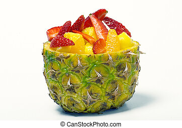 fruit salad -  fruit salad on salad bowl of pineapple