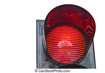 Traffic light signal shows red light