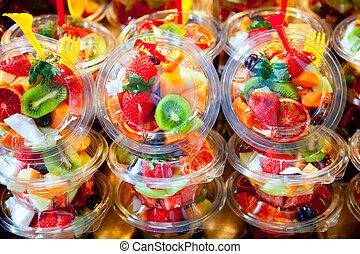 colorido, fruta, ensalada, transparente, anteojos
