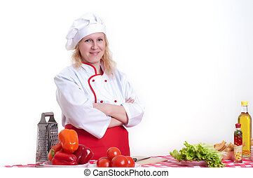 attractive woman cooks - Portrait of attractive cook woman a...