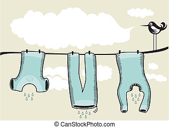 Drying Clothes Background - Background scene with drying...