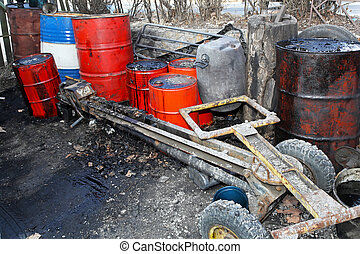 Fuel black market - Barrels and trailer for illegal fuel...