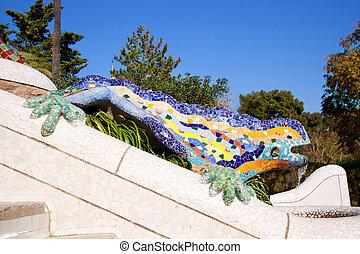 dragón, salamandra, Gaudi, parque, Guell