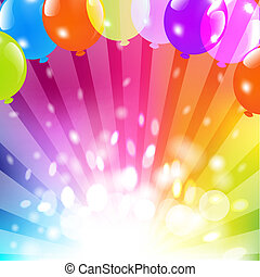 Birthday Card With Balloon And Sunburst, Vector Illustration