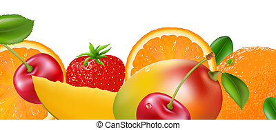 Fruit Border, Isolated On White Background, Vector...