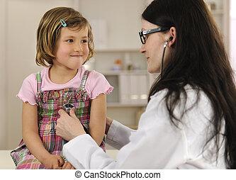 doutor, examinando, criança