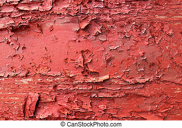 Peeling red paint on wood - Old red paint peeling off a wood...