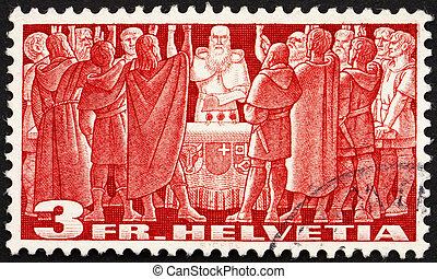 SWITZERLAND - CIRCA 1938: a stamp printed in the Switzerland...