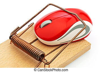 computer mouse in mousetrap - the mouse of a computer in a...
