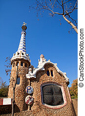Barcelona Park Guell Gingerbread House of Gaudi modernism...