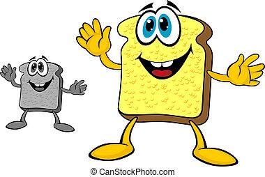 Breakfast bread toast - Smiling breakfast toast of bread in...