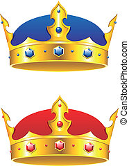 King crown with gems and embellishments isolated on white...