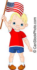 Fourth of July boy - Illustration of Boy holding American...