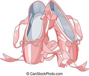 Ballet slippers - A pair of well-worn ballet pointes shoes...