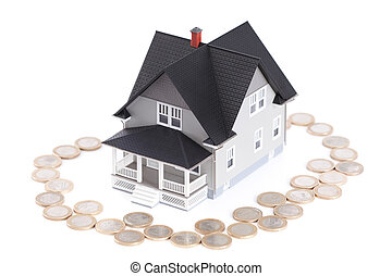 Coins around the home architectural model, isolated