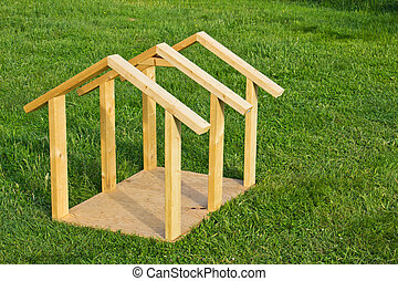 Dog House Wood Frame - Building small dog house with lumber,...