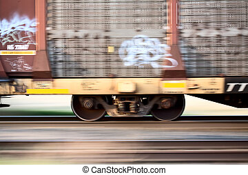 Blurred Train wheels in motion panned Canada
