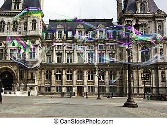 paris, france. city hall hotel de ville - the city hall...