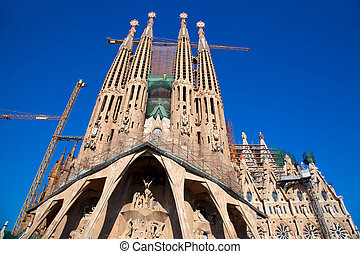 Barcelona Sagrada Familia cathedral by Gaudi architect still...