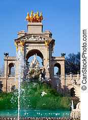 Barcelona ciudadela park lake fountain and quadriga